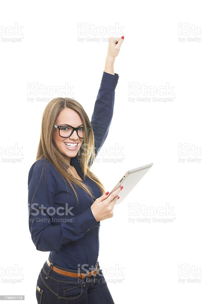 Woman with tablet computer happy for success royalty-free stock photo
