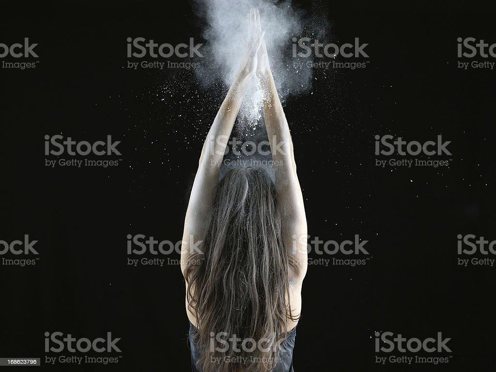Woman with talcum powder royalty-free stock photo