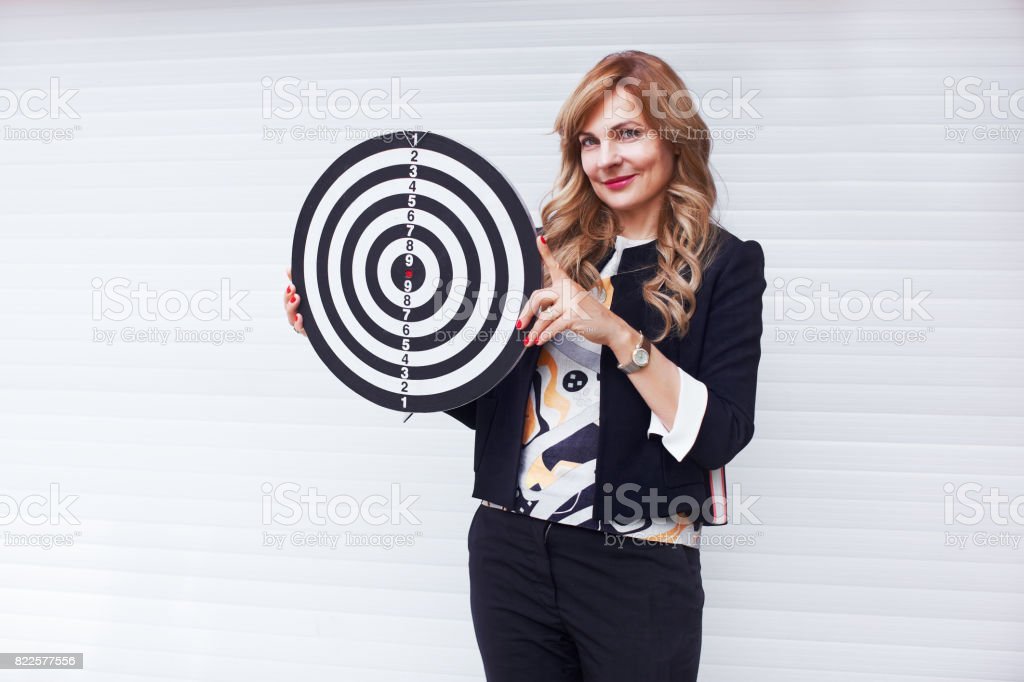 Woman with target motivation leadership concept stock photo