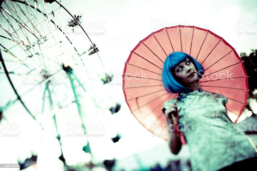 Woman with tattoos and parasol royalty-free stock photo