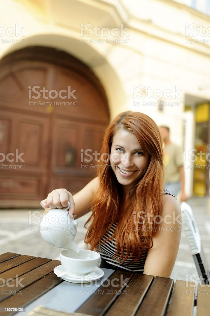 woman with tea cup royalty-free stock photo