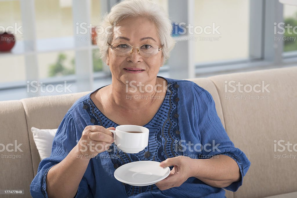 Woman with tea royalty-free stock photo