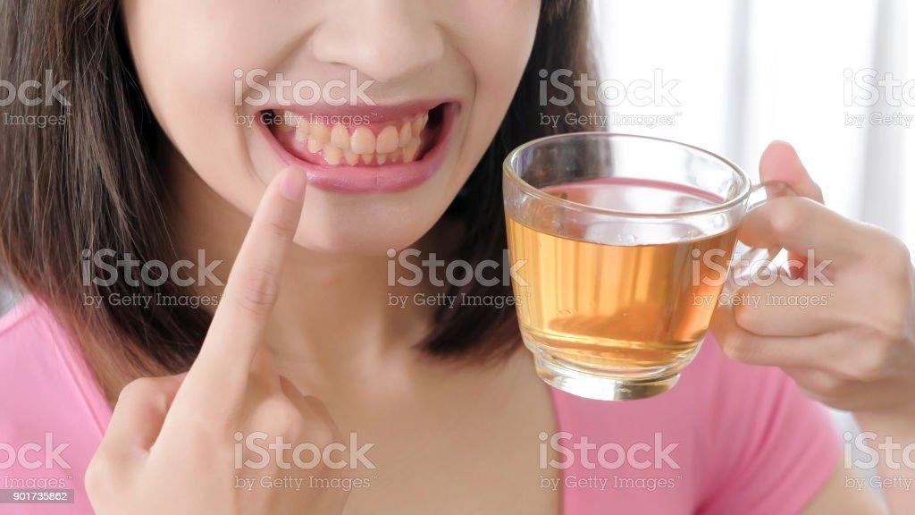 woman with tea stock photo