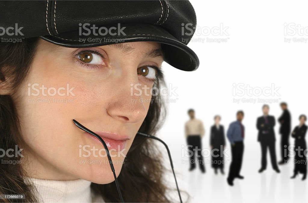 Woman with team 4 royalty-free stock photo
