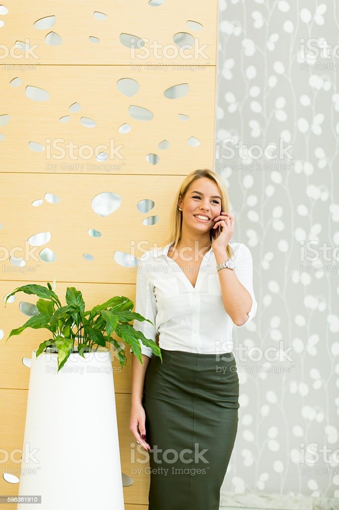 Woman with telephone in office royalty-free stock photo