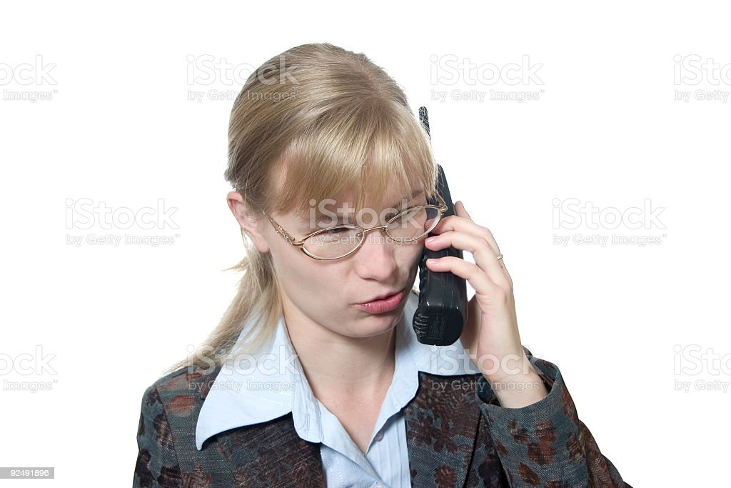 Woman with telephone royalty-free stock photo