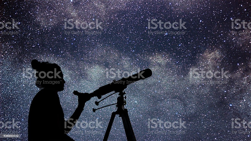 Woman with telescope watching the stars. Stargazing woman night sky stock photo