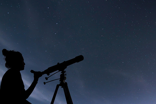 Woman With Telescope Watching The Stars Stargazing Woman