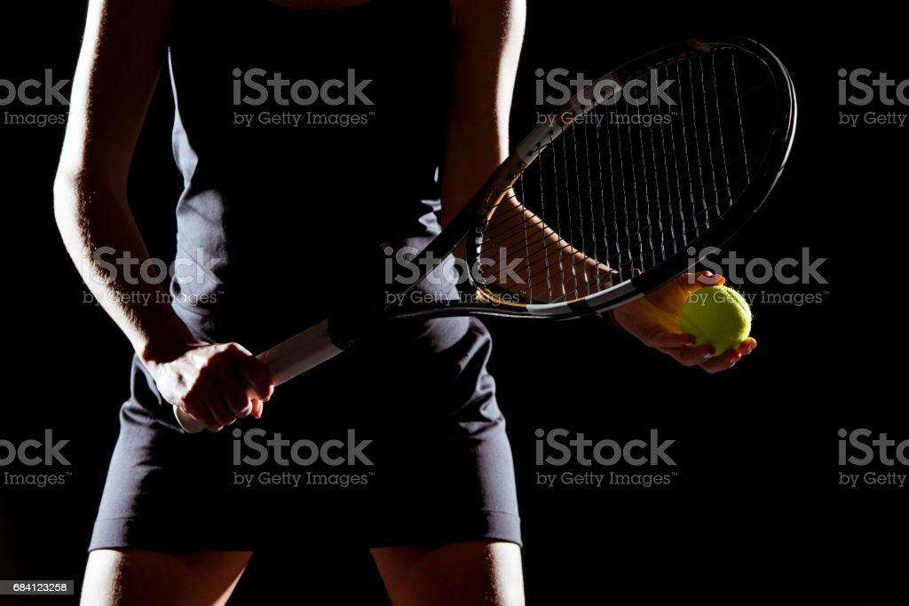 Woman with tennis racket and ball zbiór zdjęć royalty-free
