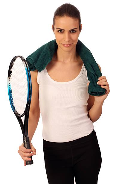 Frau mit Tennisschläger, isoliert – Foto