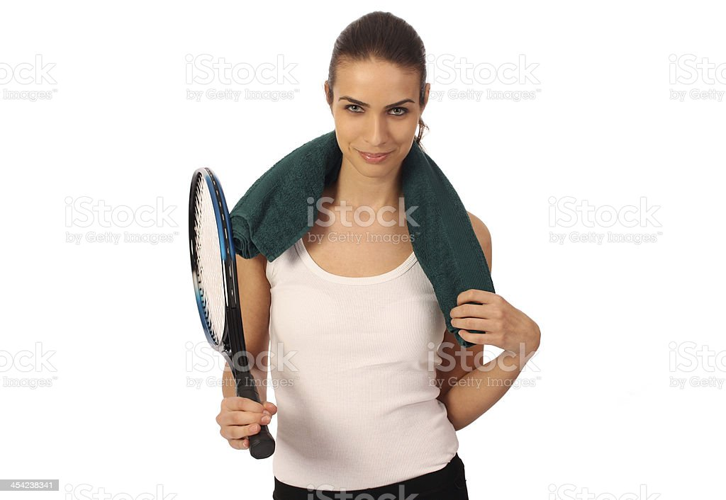 Woman with tennis racket, isolated royalty-free stock photo