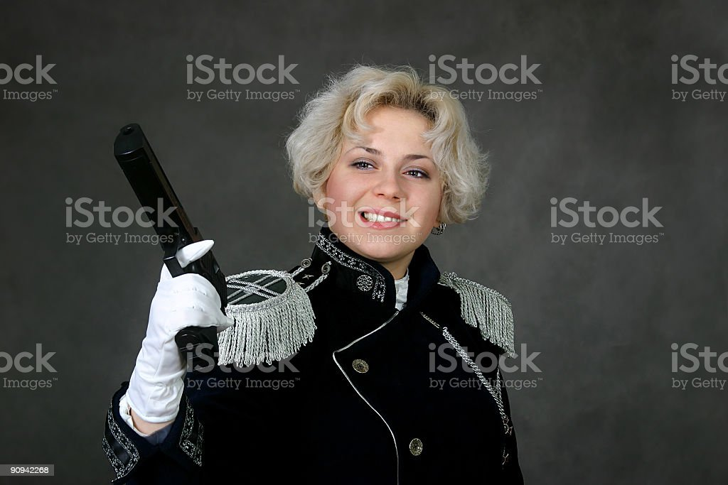 woman with the gun stock photo