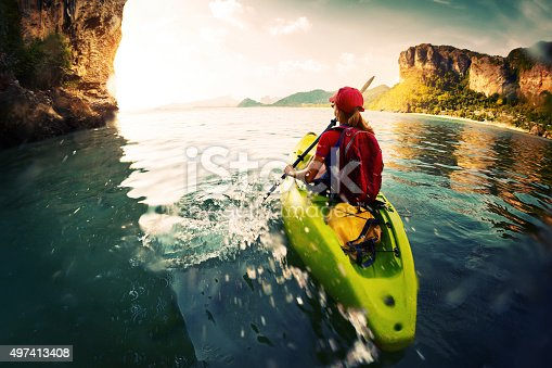 istock Woman with the kayak 497413408