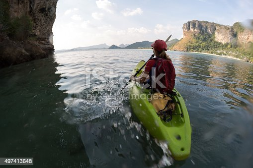 istock Woman with the kayak 497413648