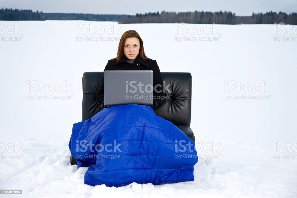 Woman with the laptop royalty-free stock photo