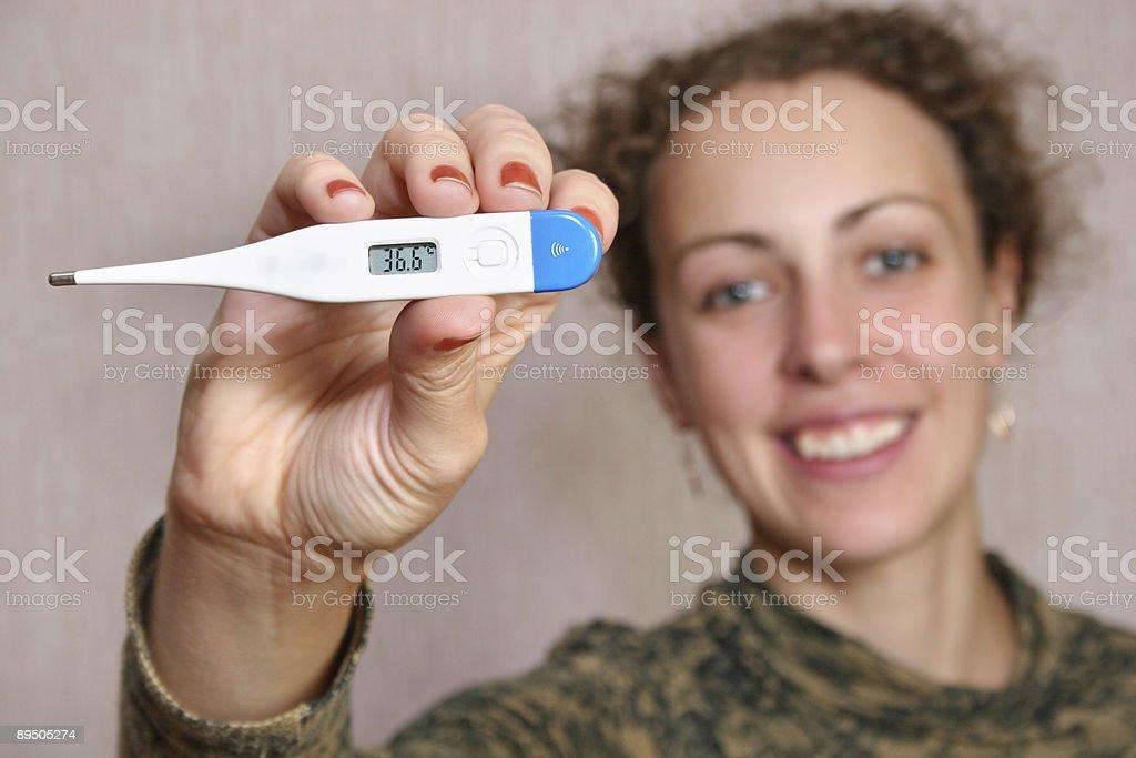 Donna con Termometro foto stock royalty-free