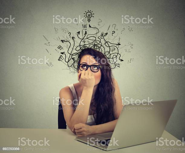 Woman with thoughtful expression sitting at a desk with laptop with picture id692253356?b=1&k=6&m=692253356&s=612x612&h=7tp6pj9qj2bip5ymaofxdzqctvdoq0fsvkgczdpl8xe=