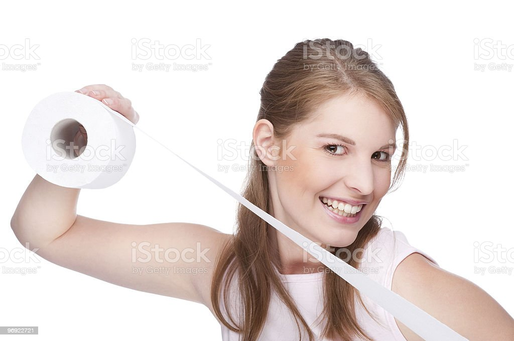 Woman with toilet paper royalty-free stock photo