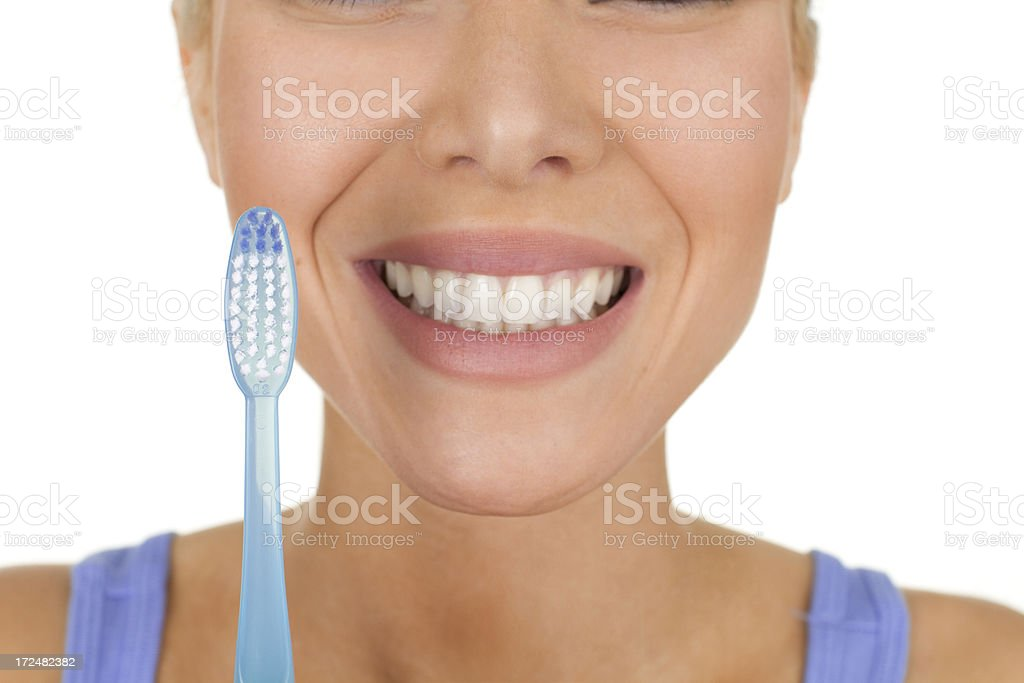 woman with toothbrush royalty-free stock photo