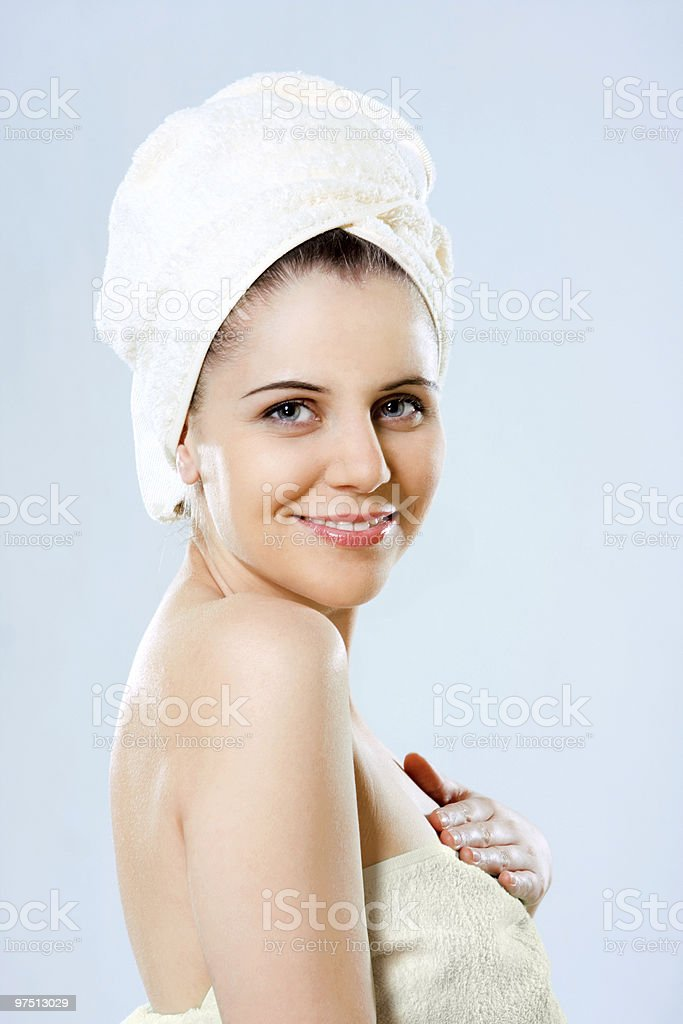 woman with towel on the head royalty-free stock photo