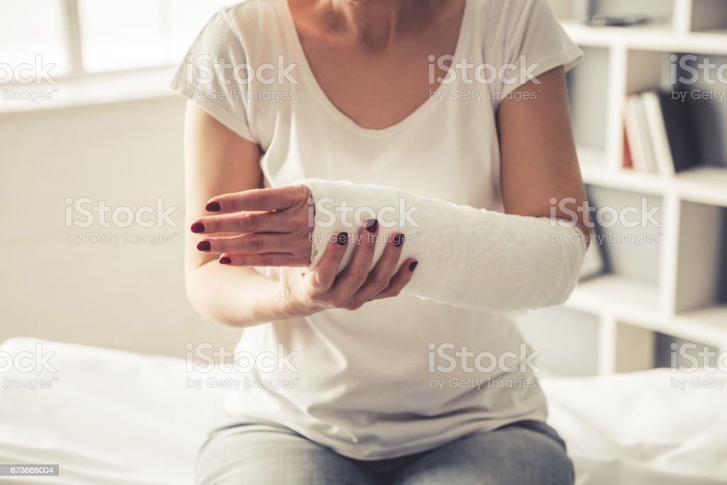Woman with trauma stock photo
