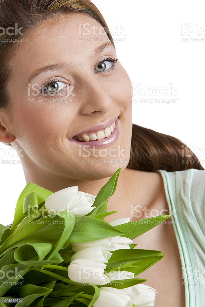 woman with tulips royalty-free stock photo