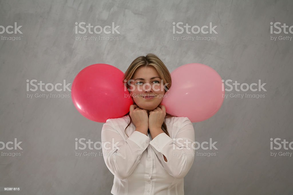 Woman with Two balloons stock photo
