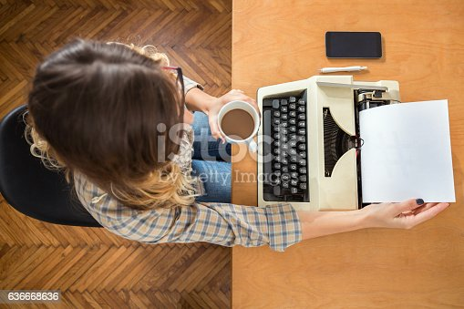istock Woman with Typewriter 636668636