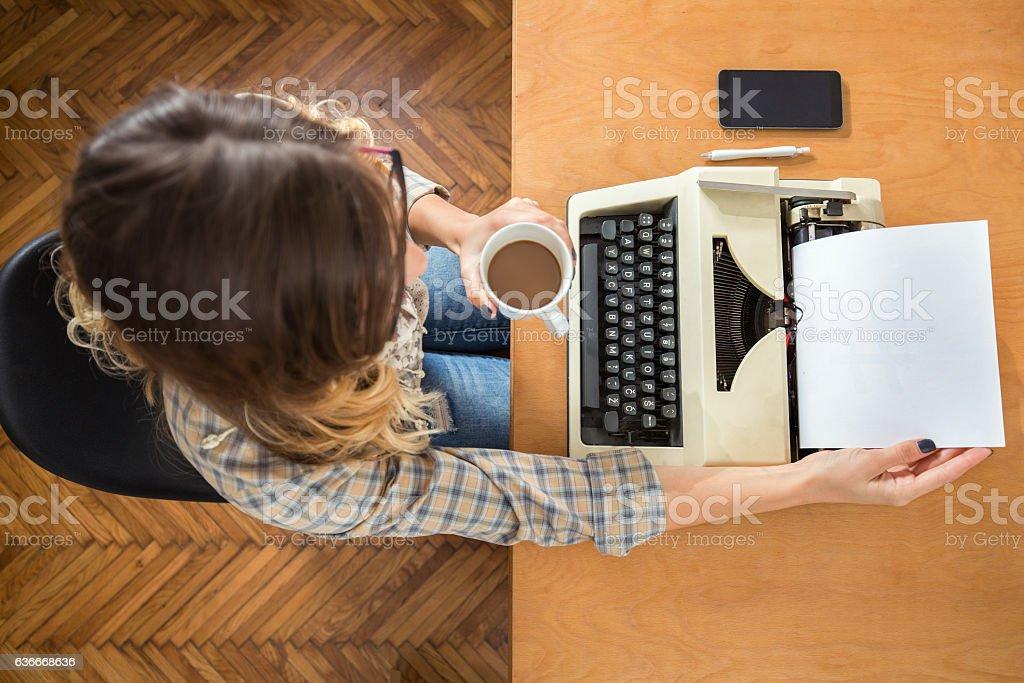 Woman with Typewriter stock photo