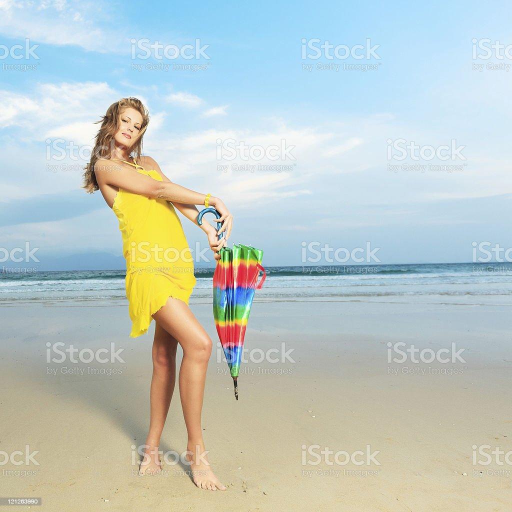 Woman with umbrella royalty-free stock photo