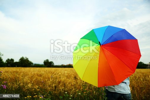 woman with umbrella outdoors.