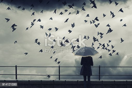 Lonely woman with umbrella watching flock of birds flying on cloudy winter day.