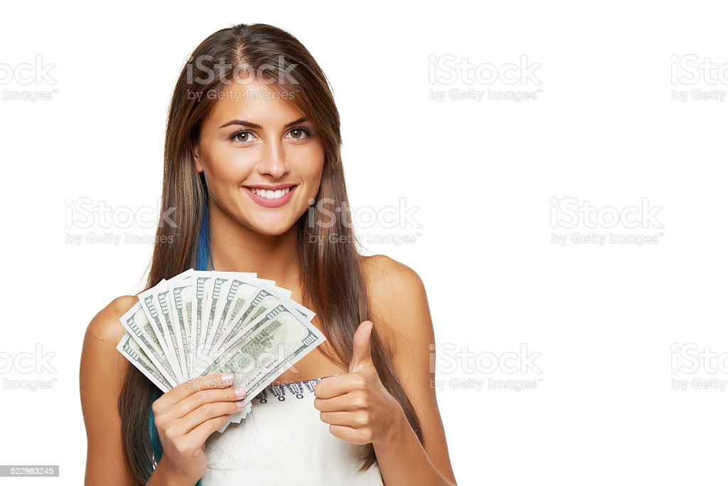 Woman with us dollar money stock photo