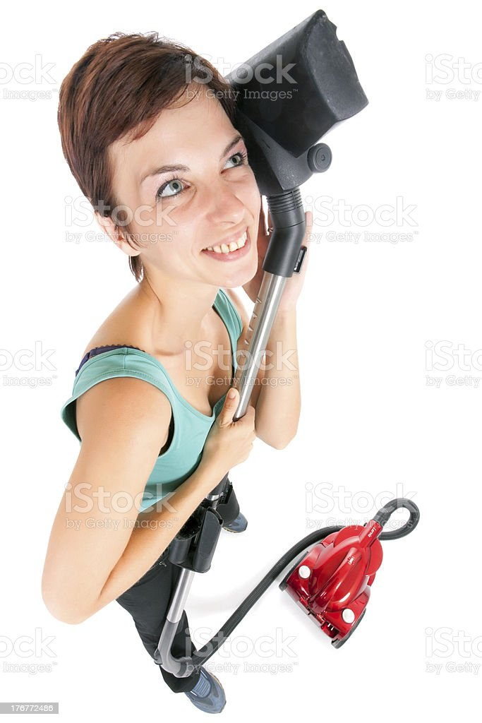 woman with vacuum cleaner royalty-free stock photo