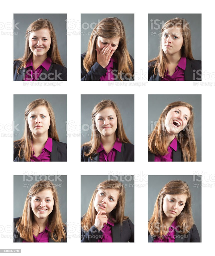 Woman with Various Personality, Character and Emotional Expressions stock photo