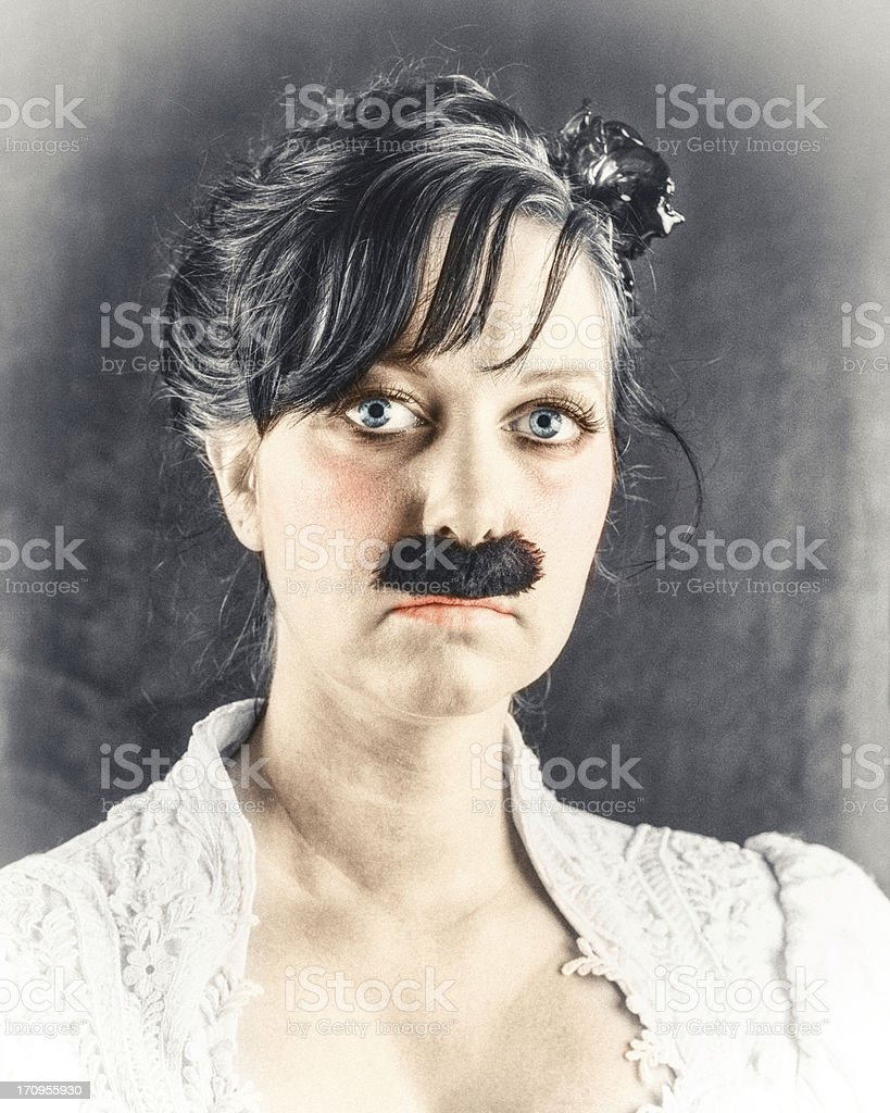 Woman with Victorian Mustache royalty-free stock photo