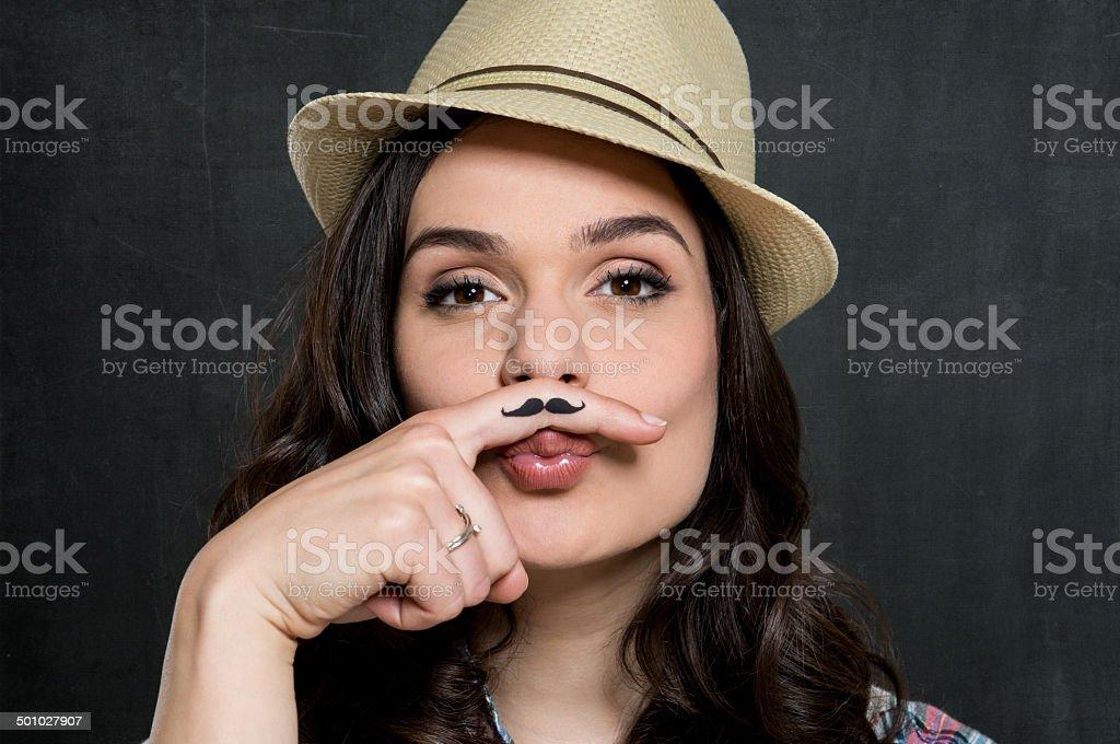 Woman With Vintage Moustache stock photo