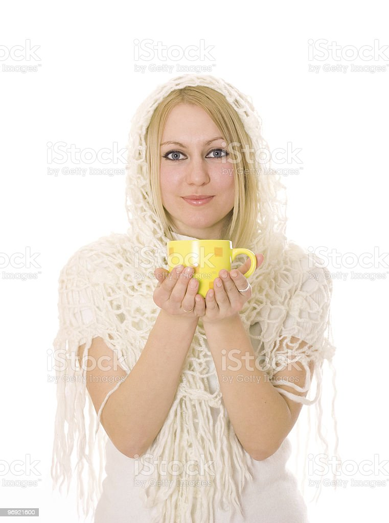 Woman with warm drink royalty-free stock photo