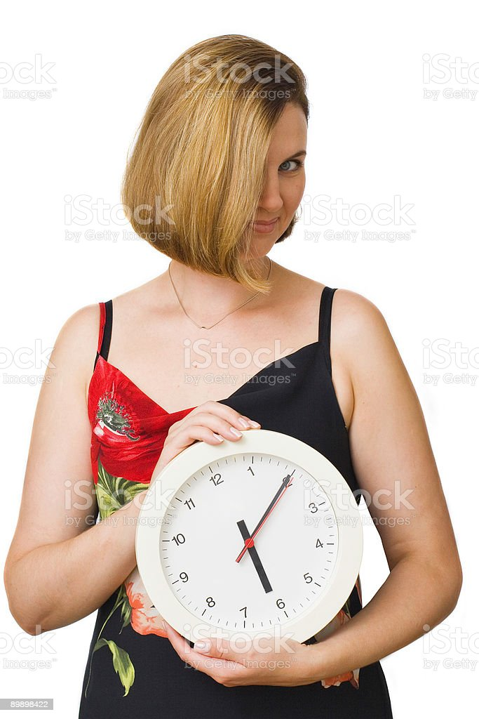 Woman with watch royalty-free stock photo