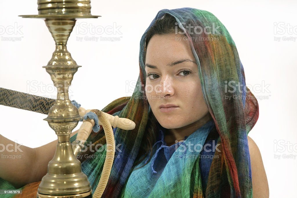 woman with water pipe stock photo