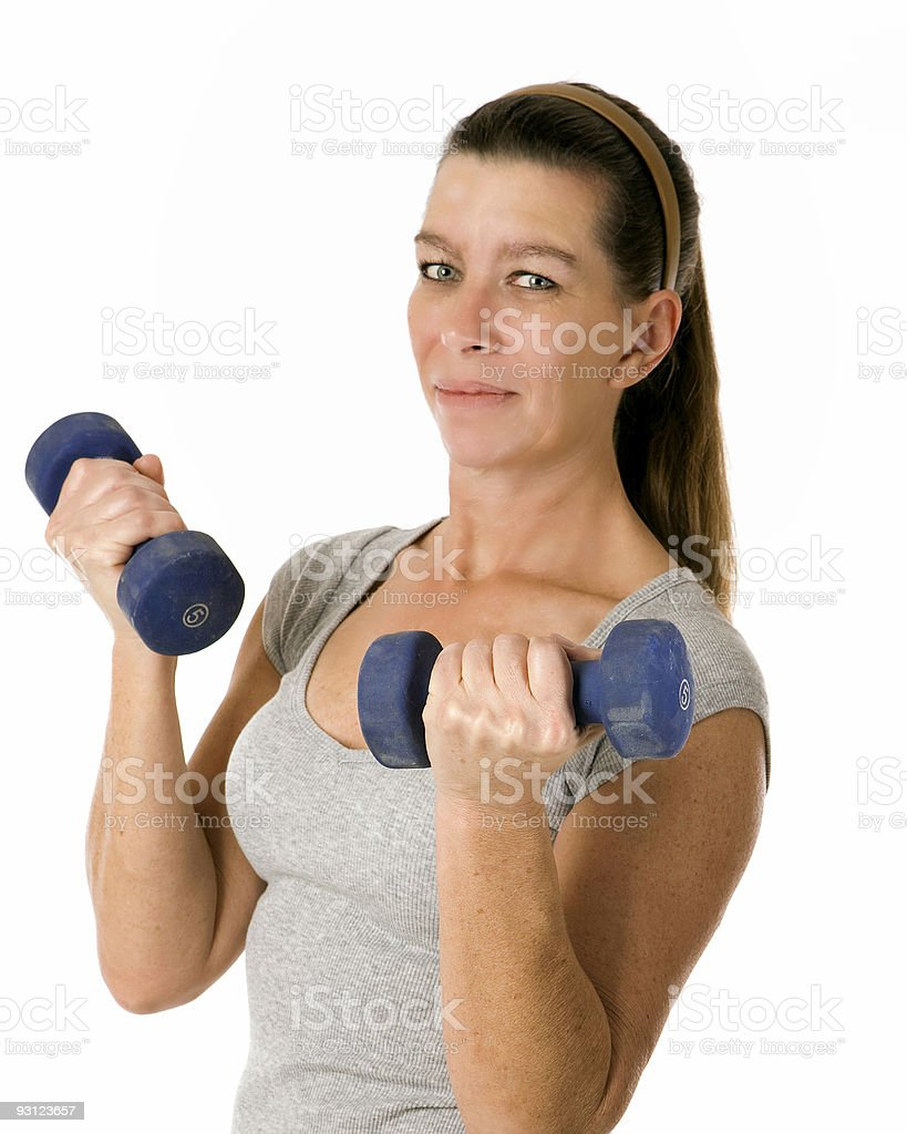 Woman with weights stock photo