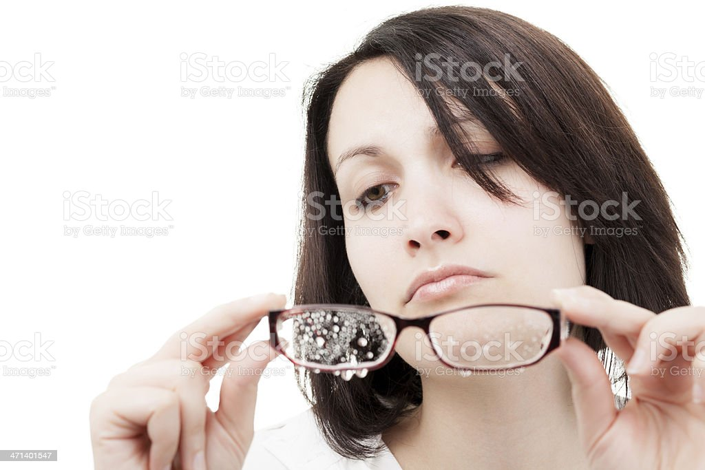 Woman with Wet Glasses royalty-free stock photo