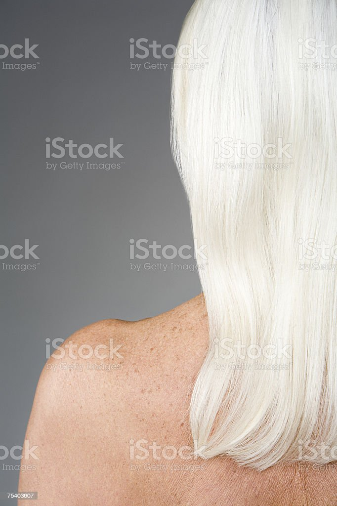Woman with white hair stock photo