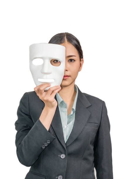 woman with white mask - mask disguise stock photos and pictures