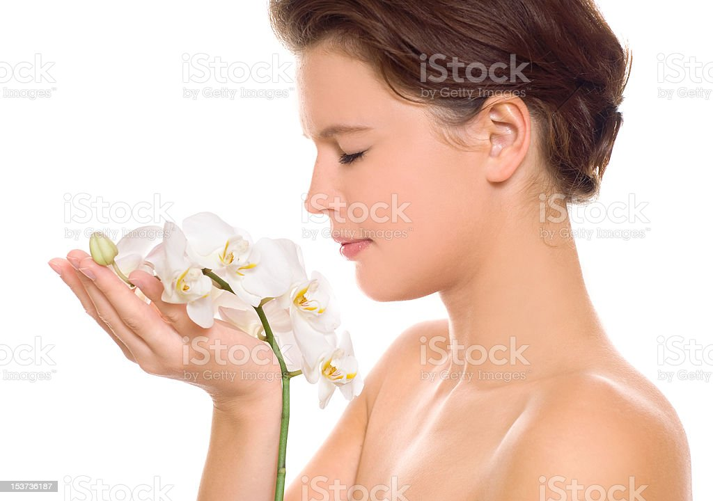 woman with white orchid royalty-free stock photo