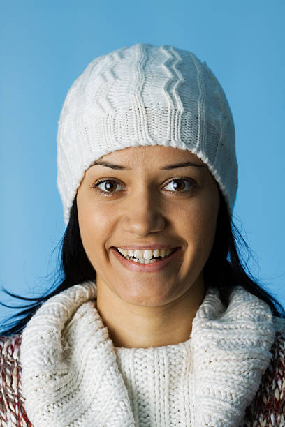 woman with winter hat stock photo