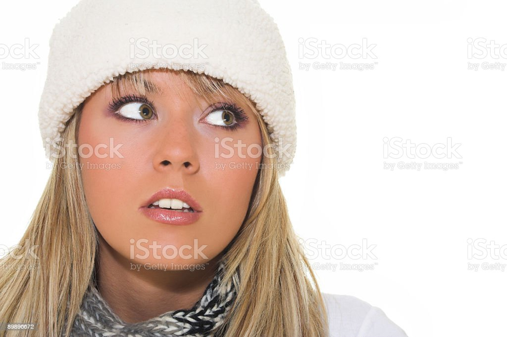 Woman with winter hat portrait royalty-free stock photo