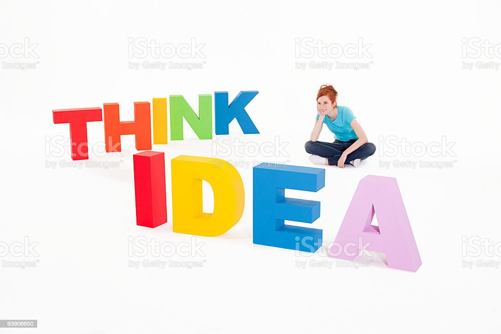 Woman with words think and idea stock photo