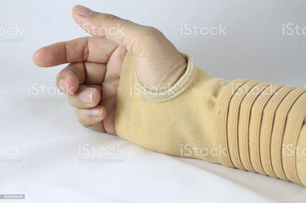 woman with wrist pain in  Elastic Bandage isolated  white background – zdjęcie