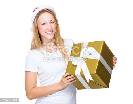 istock Woman with xmas hat and hold with gift box 524691653